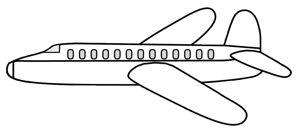 Airplane clipart sketch, ex lge 19 cm long, to color.