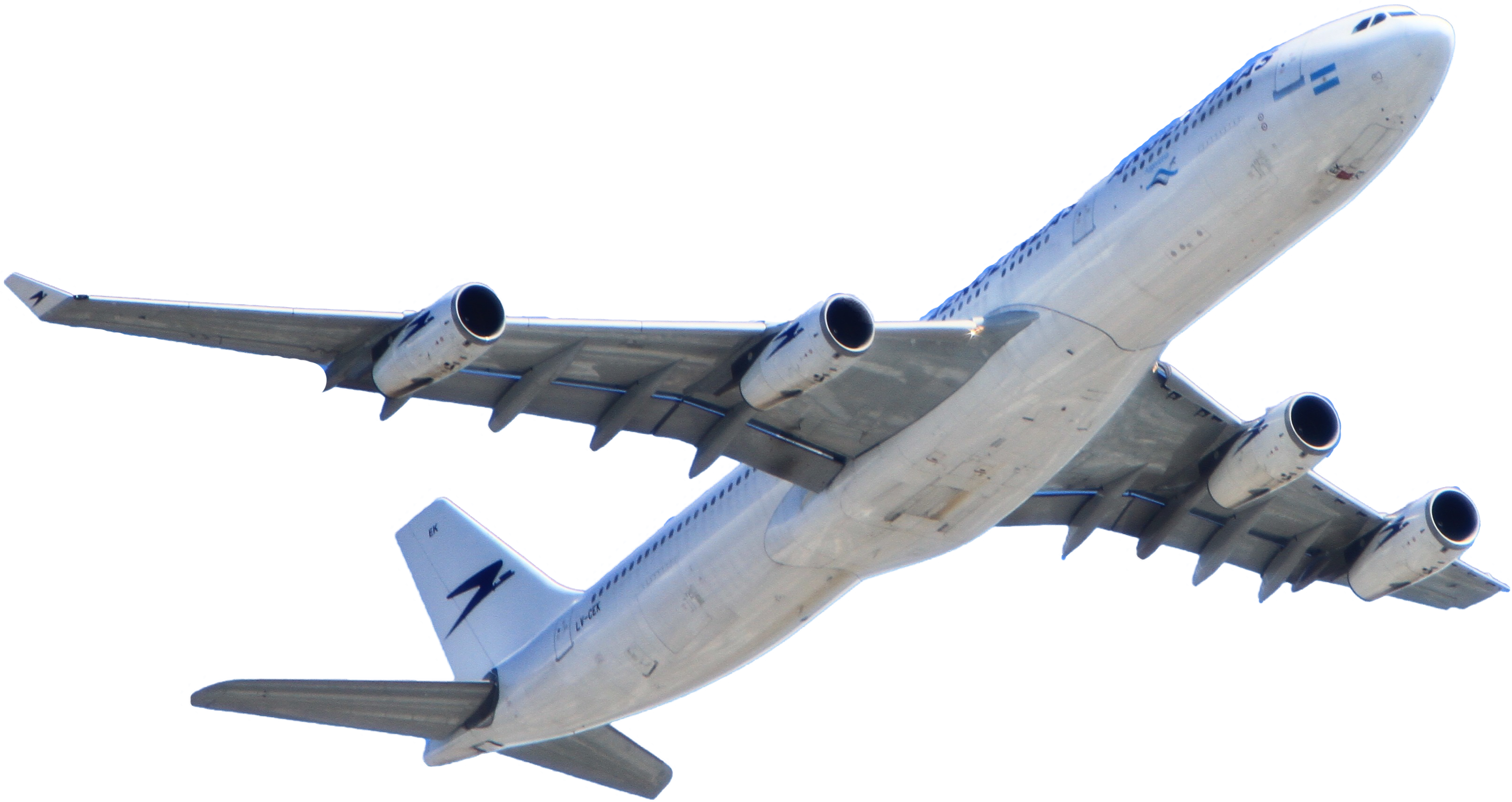 White Passenger Plane Flying on Sky PNG Image.