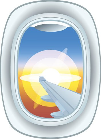 Airplane window view vector illustration. Clipart Image.