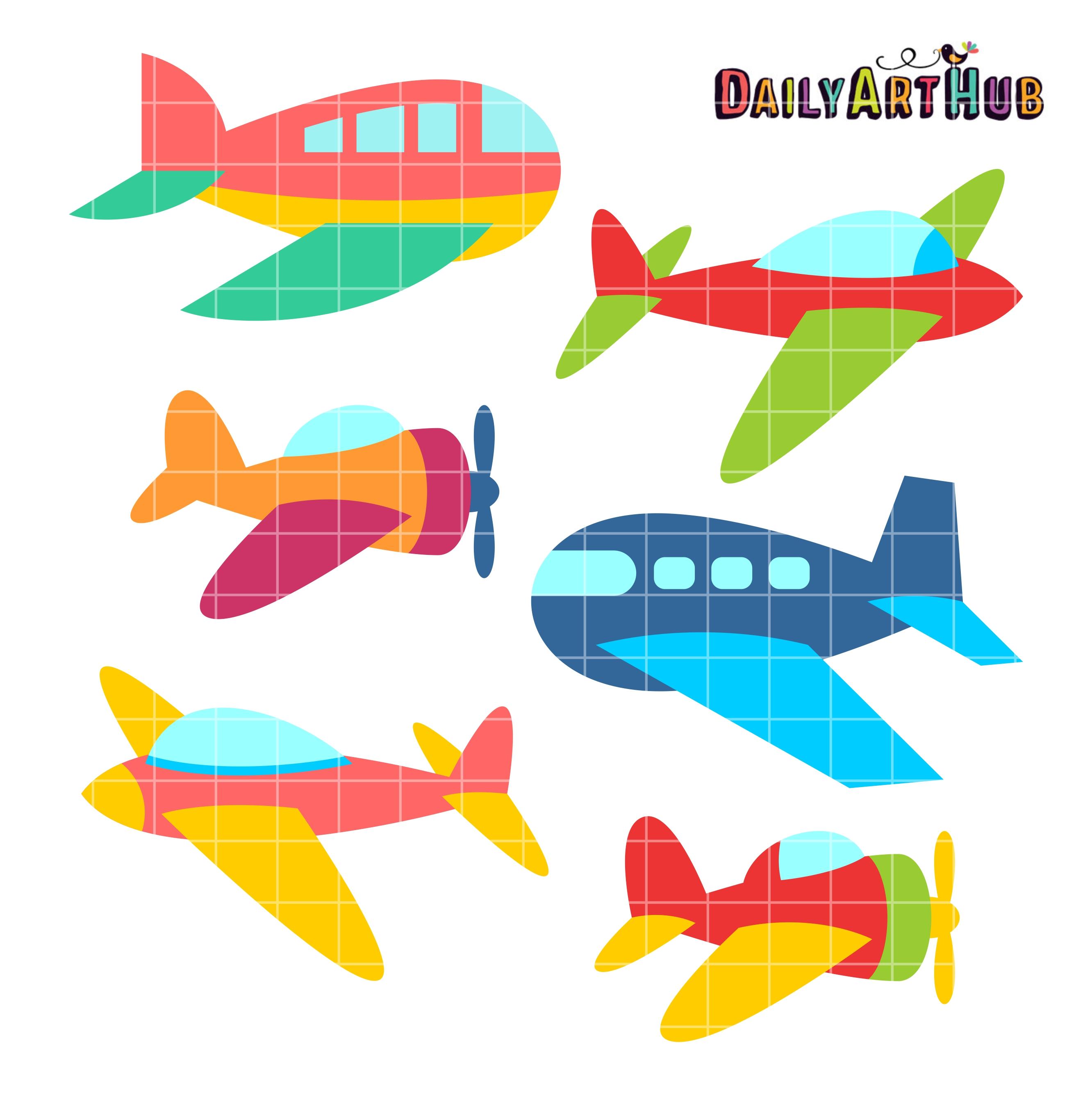 Cute Aeroplanes Clip Art Set.