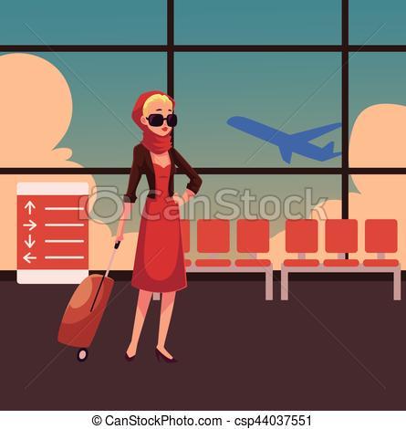 Mujer, vestido, rojo, bastante, maleta. Hermoso, lleno.