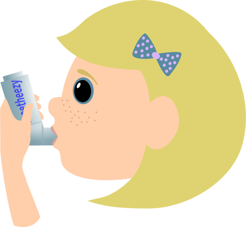 Vector image of young girl using asthma spray.