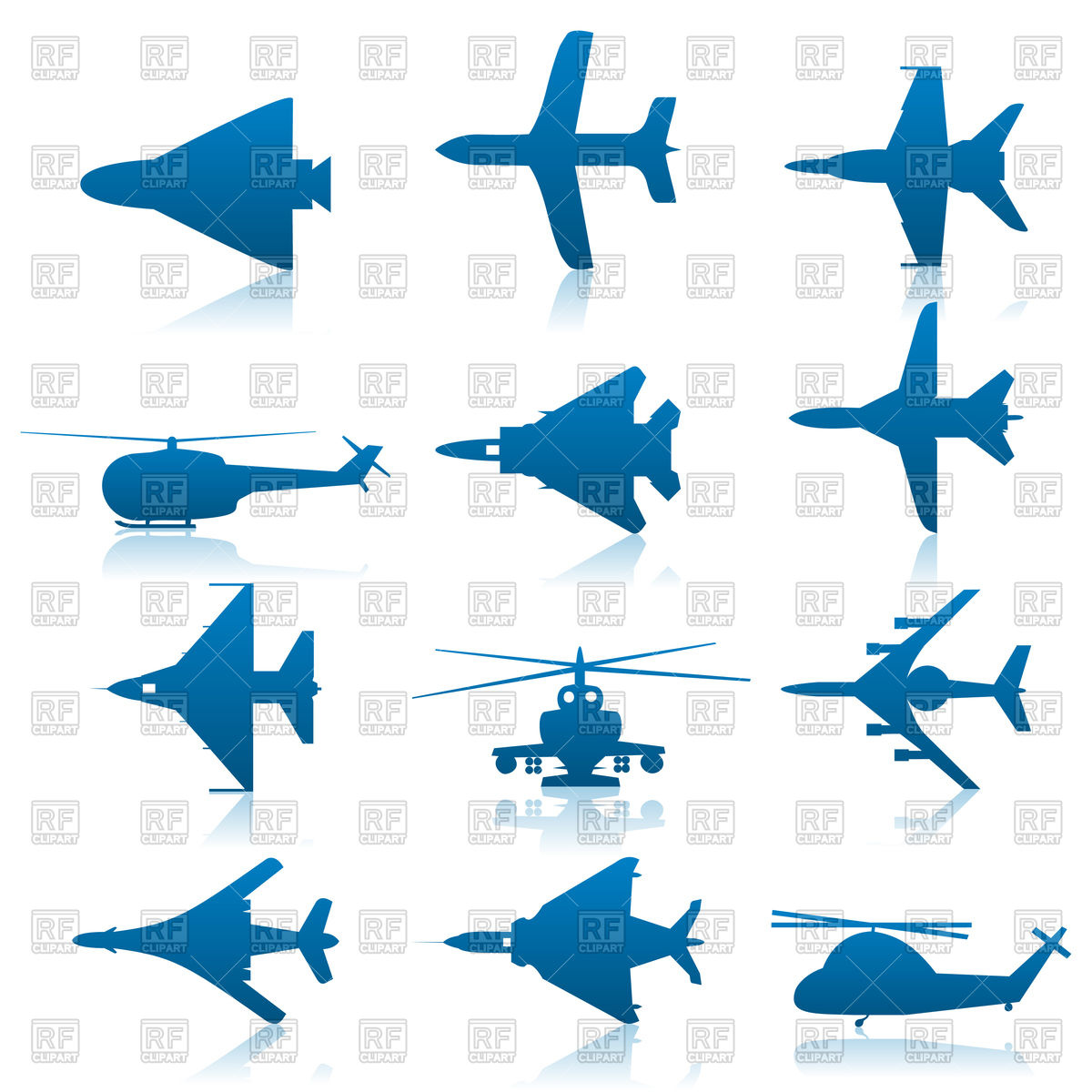 Set of aircraft icons Vector Image #80270.