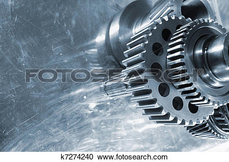 Stock Photography of gears in the aerospace industry k7274240.