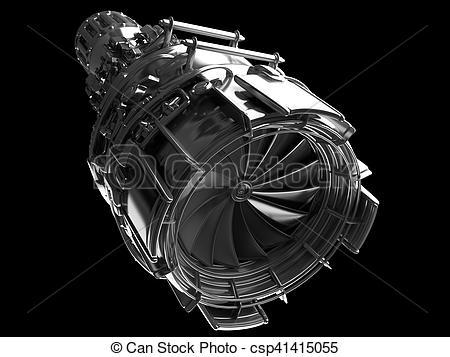 Stock Illustrations of Jet engine turbine blades of plane.