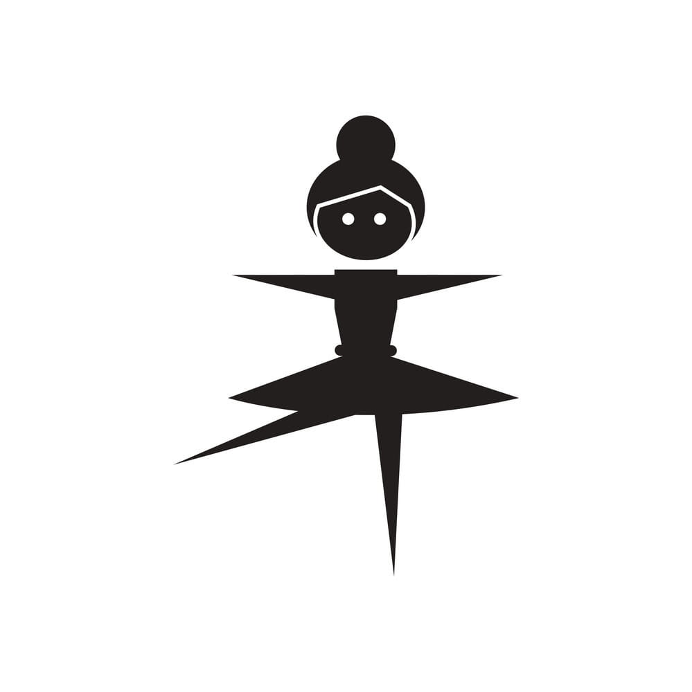 Flat icon in black and white ballerina vector ai, eps file.