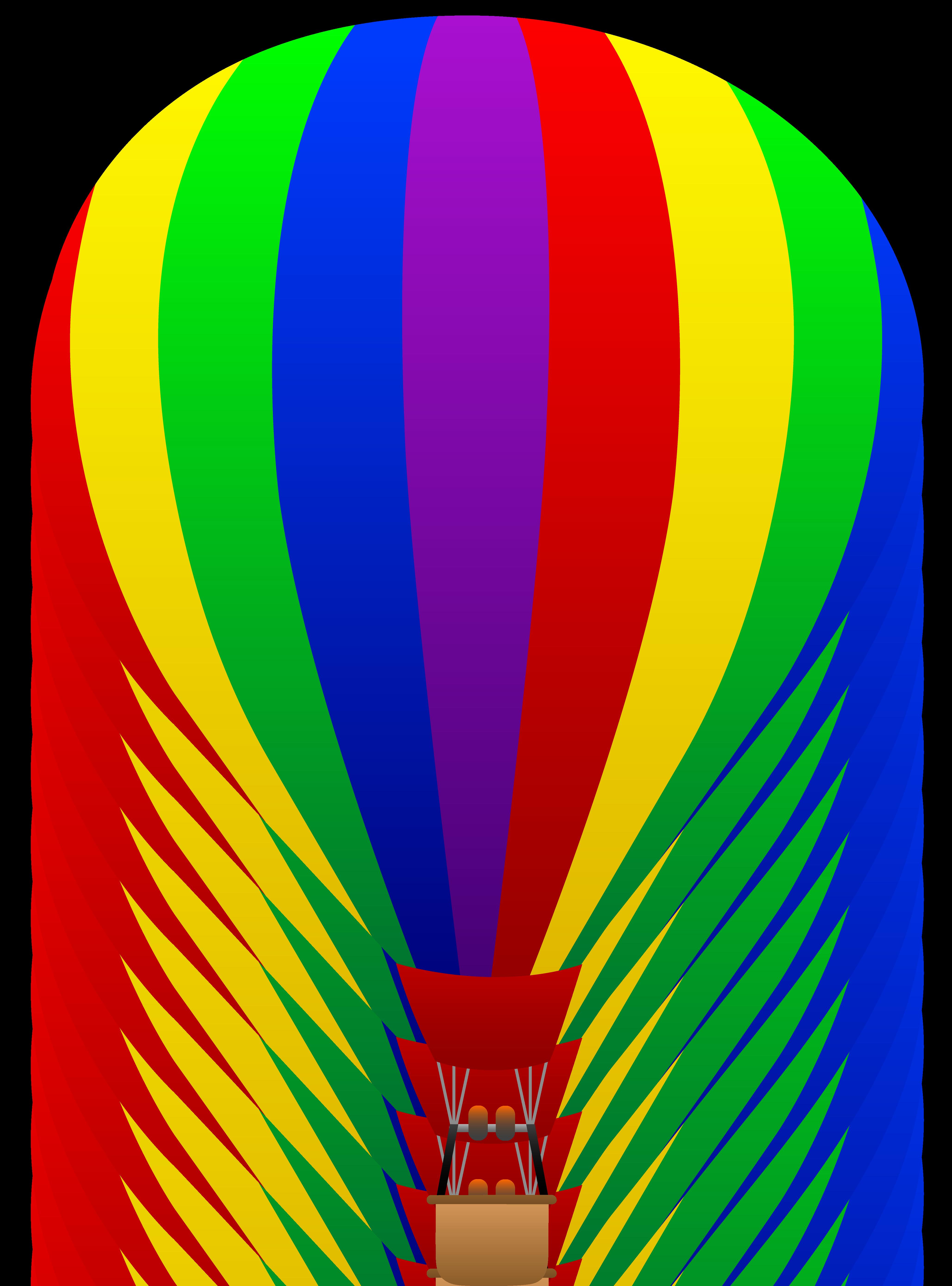 Rainbow Hot Air Balloon Clipart.