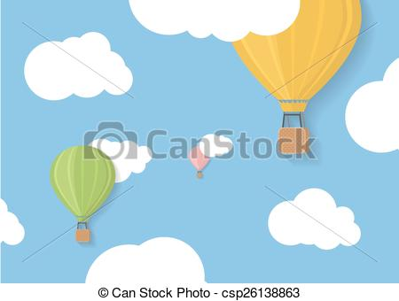Clip Art Vector of Three coloured aerostats in blue skies with.