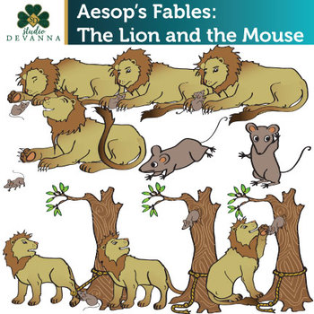 Aesop\'s Fables The Lion and the Mouse Clip Art.