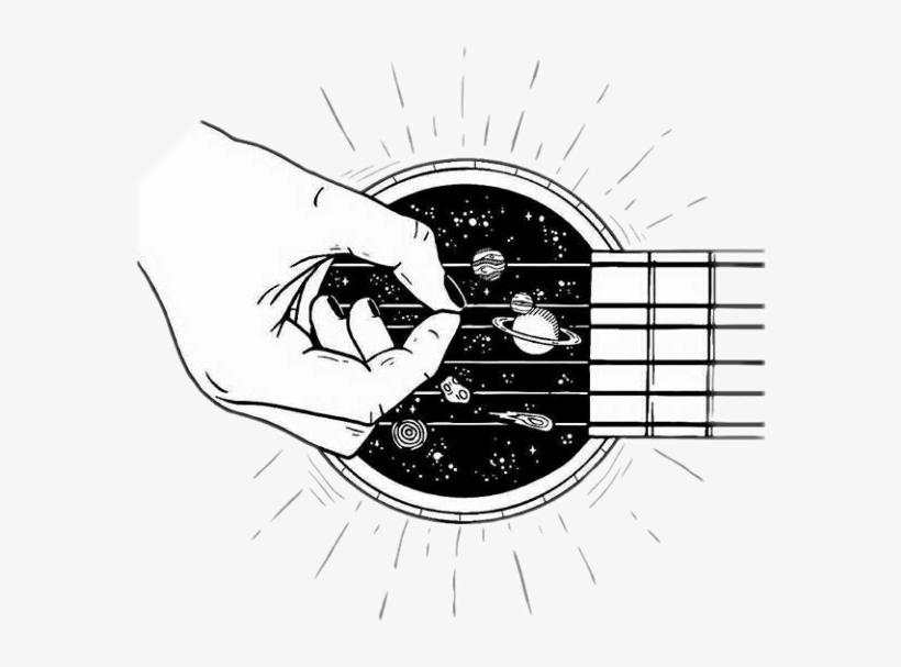 Guitar Galaxy Blackandwhite Tumblr Outline.