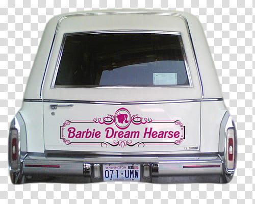 AESTHETIC GRUNGE, white hearse with Barbie Dream Hearse.