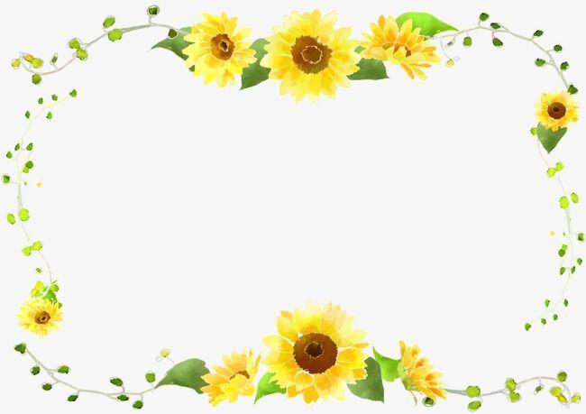 Sunflower Border Curve Decorative Foliage, Sunflower Clipart.