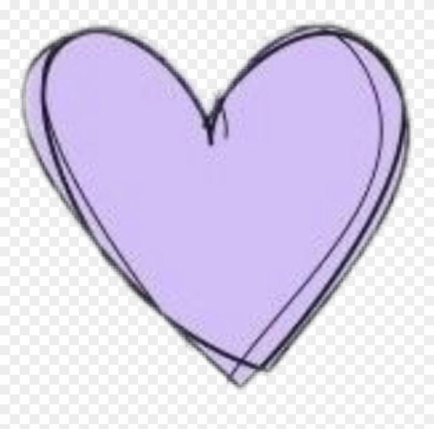Heart Doodle Purple Pastel Cute Kawaii Aesthetic Clipart.