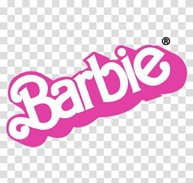 Aesthetic pink mega , Barbie logo transparent background PNG.
