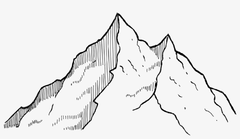 Free Mountain Black And White Drawing, Download Free Clip.