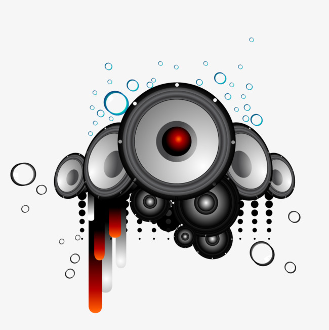 Circle embellishment music speakers PNG clipart.