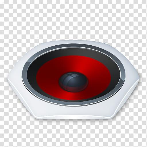 Senary System, black, white, and red subwoofer speaker.