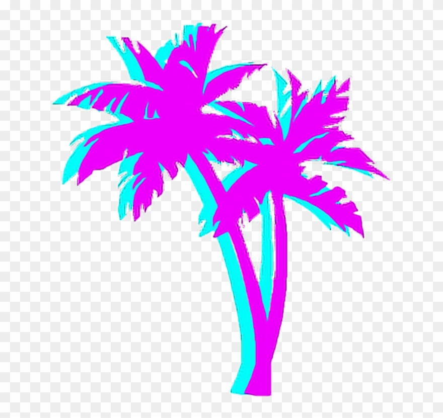 Palmtree Palm Night Japan Tumblr Aesthetic 80\'s Blue.