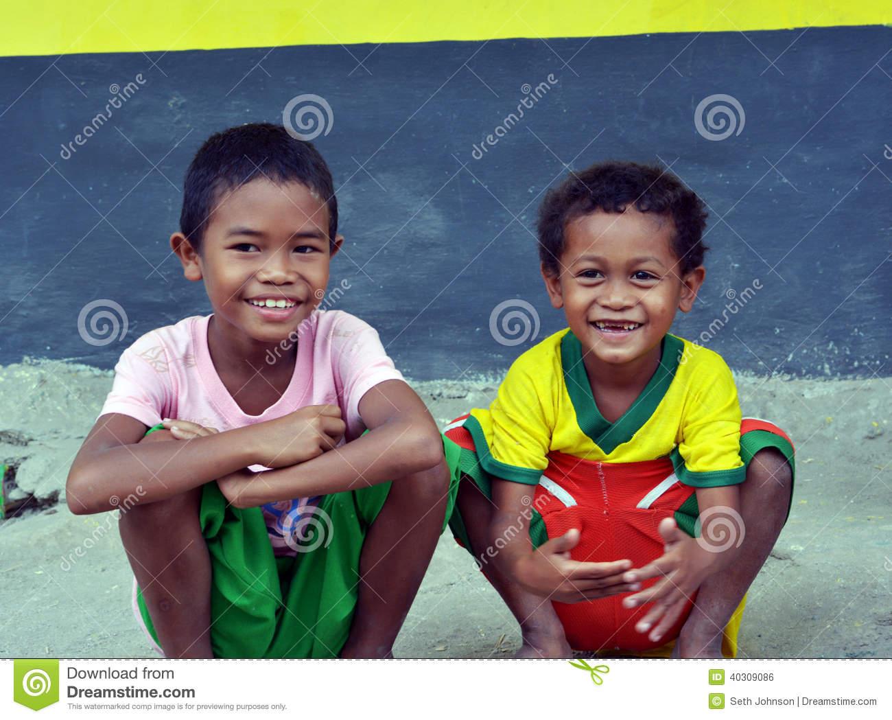 Aeta Children Near Pinatubo Volcano Editorial Photo.
