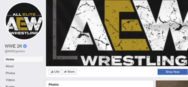 WWE 2K Facebook page hacked with AEW logos.