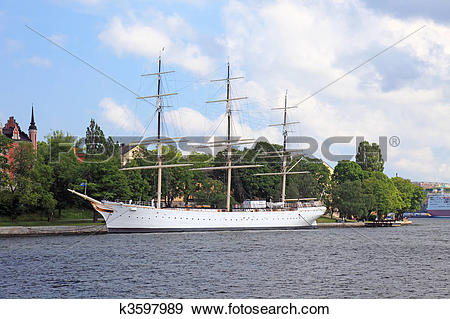 Stock Photograph of Old war ship in Stockholm harbor, Sweden.