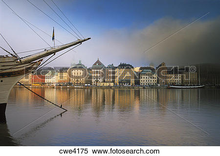 Stock Image of Af Chapman schooner at Skeppsholmen across from The.