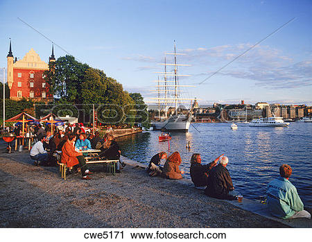 Stock Photography of People eating and drinking at Skeppsholmen.
