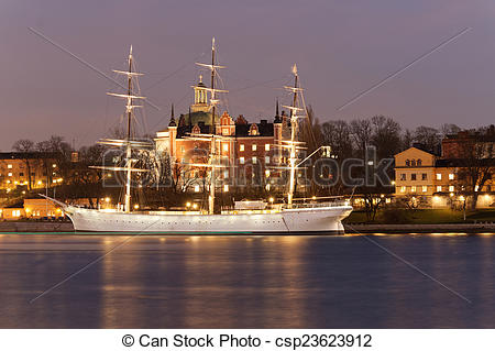 Stock Photography of Old sailing ship Af Chapman in central.