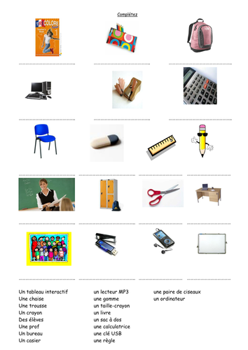 Mes affaires/fournitures scolaires by gail31.