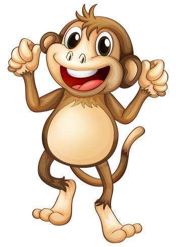 Glücklicher Affe, der alleine tanzt.