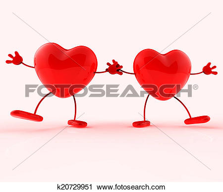 Clipart of Holding Hands Shows Valentines Day And Affectionate.