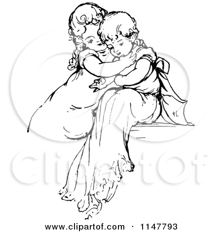 Clipart of a Retro Vintage Black and White Affectionate Children.