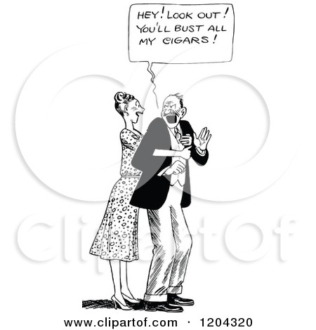 Clipart of a Vintage Black and White Affectionate Wife and Annoyed.