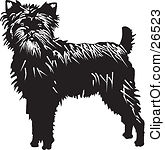 Clipart Illustration of an Alert Affenpinscher Dog Looking Front.