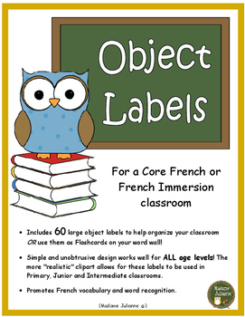 French Classroom Labels (les affiches) Core French and French Imm. (All  Levels).