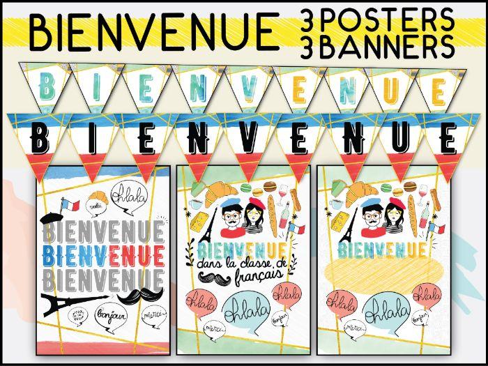 FRENCH BIENVENUE CLASSROOM DECOR SET.