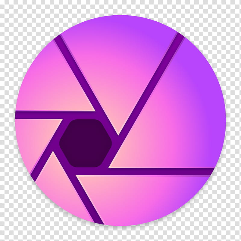 Clay OS A macOS Icon, Affinity , round purple and black logo.
