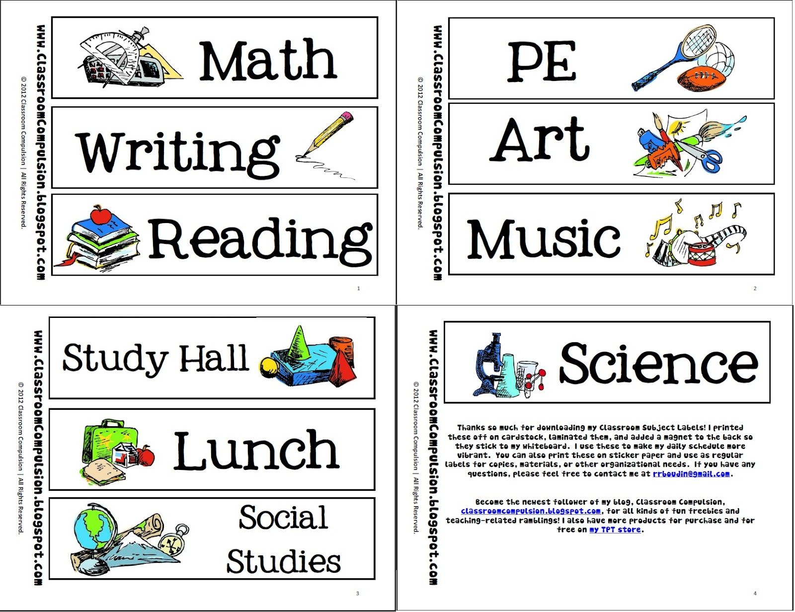 clipart school subject matching exercise