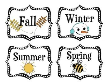 Need season labels for your calendar area? Make a clothespin with.