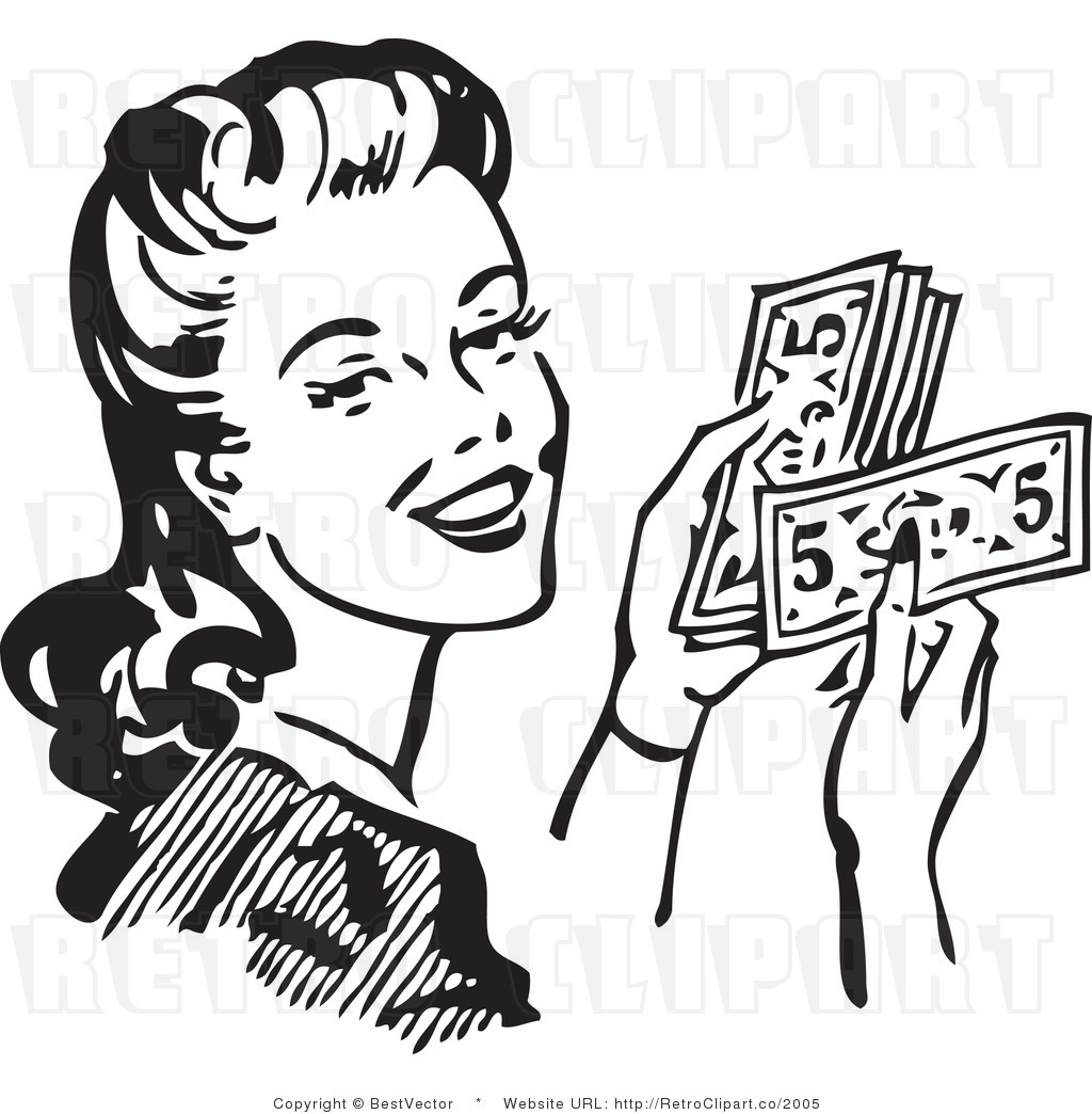 Wealthy Retro Woman Counting Her Cash Money While Smiling.