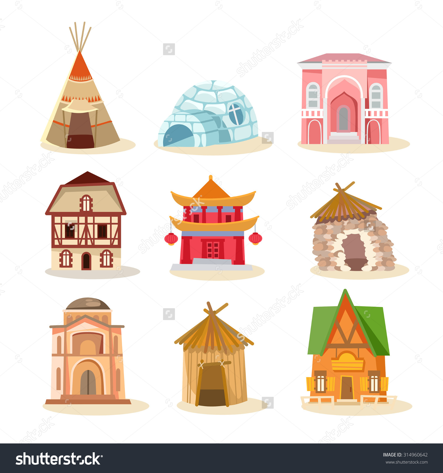 Homes Around The World Clipart.