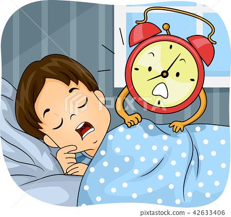 Kid Boy Sleep Alarm Clock Wake Up Illustration.