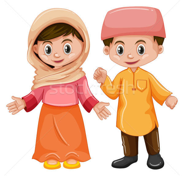 Afghanistan boy and girl with happy face vector illustration.