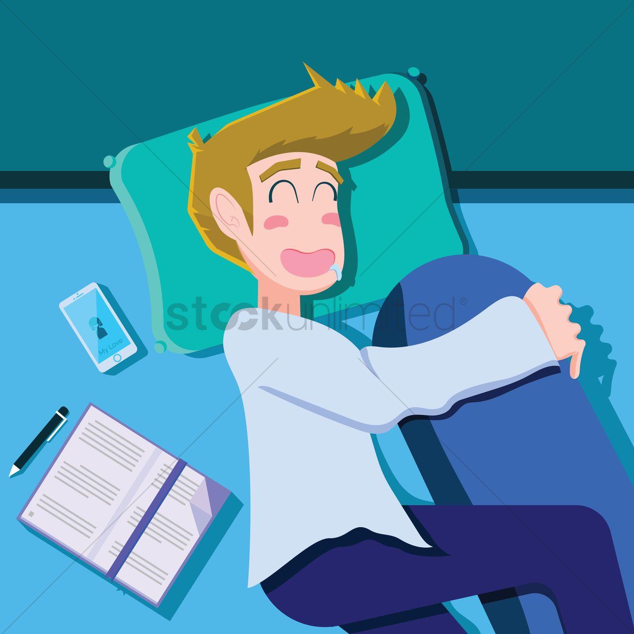 Sleeping boy hugging the pillow Vector Image.