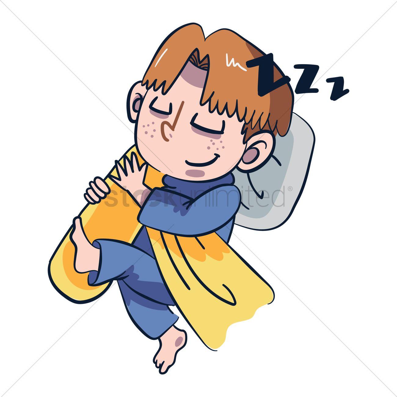 Cartoon character sleeping Vector Image.