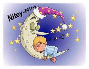 Details about Custom Made T Shirt Nitey Nite Little Boy Sleeping On Moon  Stars Toddler Cute.