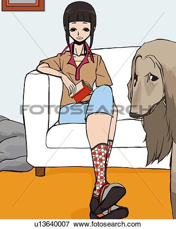 Stock Illustration of Woman and Afghan Hound in living room, woman.