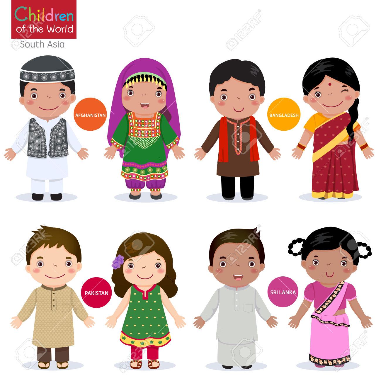 Kids In Traditional Costume Afghanistan, Bangladesh, Pakistan.