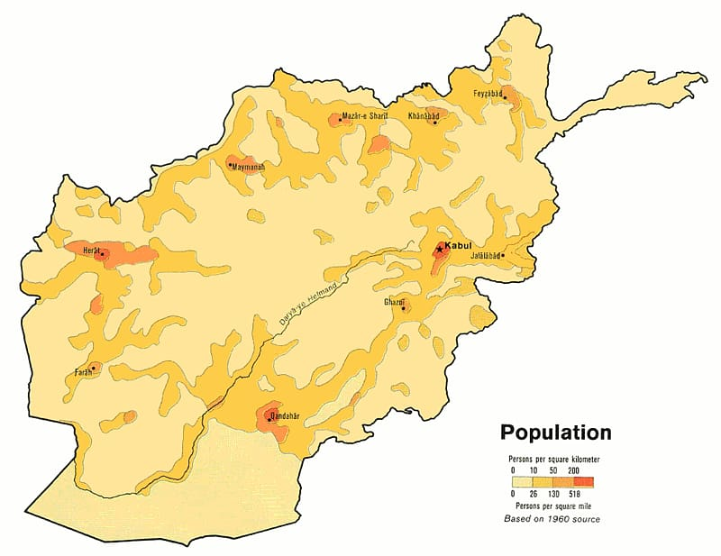 Afghanistan Population density Map , Afghanistan transparent.