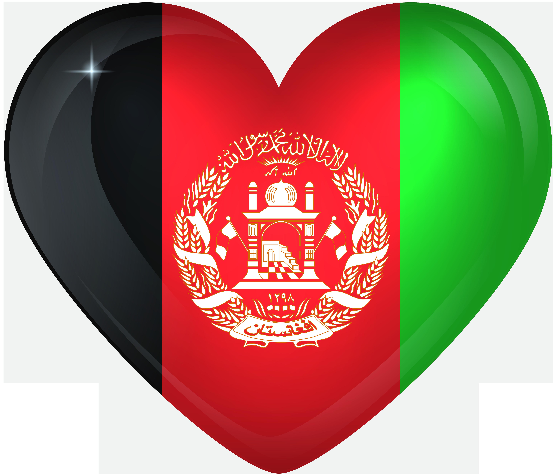 Afghanistan Large Heart Flag.